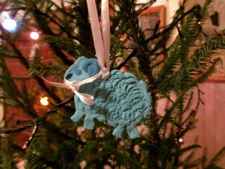 овца на елку из соленого теста