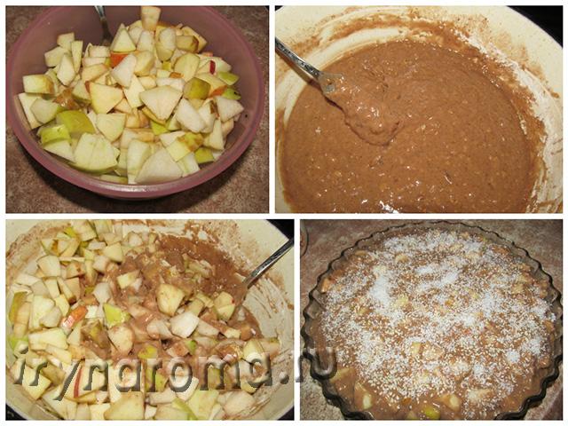 как испечь шоколадный пирог с яблоками